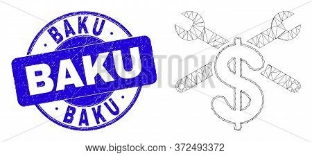 Web Mesh Repair Price Pictogram And Baku Seal Stamp. Blue Vector Rounded Scratched Stamp With Baku T