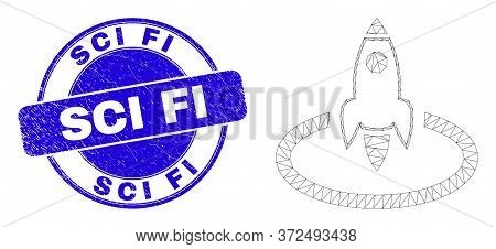 Web Mesh Rocket Start Icon And Sci Fi Seal Stamp. Blue Vector Rounded Scratched Seal Stamp With Sci