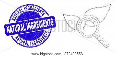 Web Carcass Search Flora Plant Icon And Natural Ingredients Stamp. Blue Vector Round Distress Stamp