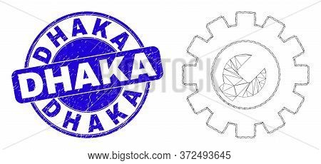 Web Mesh Setup Tools Icon And Dhaka Seal. Blue Vector Rounded Scratched Stamp With Dhaka Text. Abstr