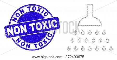 Web Mesh Shower Pictogram And Non Toxic Seal Stamp. Blue Vector Round Grunge Stamp With Non Toxic Ti