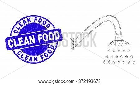 Web Mesh Shower Icon And Clean Food Seal. Blue Vector Rounded Textured Seal With Clean Food Phrase.