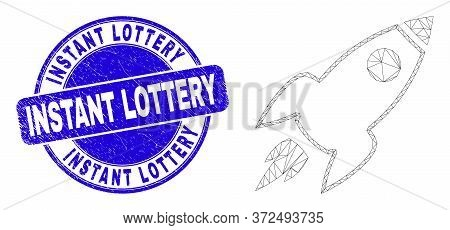Web Mesh Space Rocket Icon And Instant Lottery Watermark. Blue Vector Rounded Distress Seal Stamp Wi