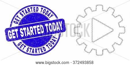 Web Carcass Start Gear Automation Pictogram And Get Started Today Seal. Blue Vector Round Textured S