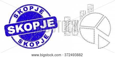 Web Mesh Statistics Charts Pictogram And Skopje Seal Stamp. Blue Vector Round Grunge Stamp With Skop
