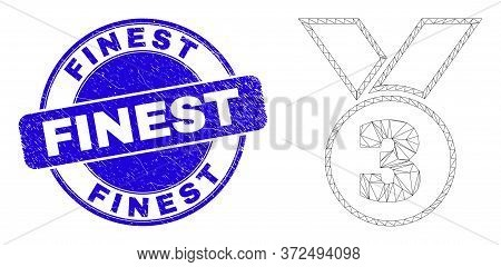 Web Carcass Third Medal Icon And Finest Seal. Blue Vector Rounded Textured Seal With Finest Title. A
