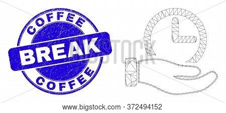 Web Mesh Time Service Hand Pictogram And Coffee Break Watermark. Blue Vector Rounded Distress Waterm
