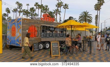 Frech Fries Street Sale At Santa Monica Beach - Los Angeles, United States - March 29, 2019