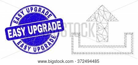 Web Carcass Upload Icon And Easy Upgrade Seal Stamp. Blue Vector Rounded Textured Seal Stamp With Ea