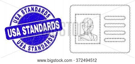 Web Mesh User Card Icon And Usa Standards Watermark. Blue Vector Rounded Scratched Seal With Usa Sta