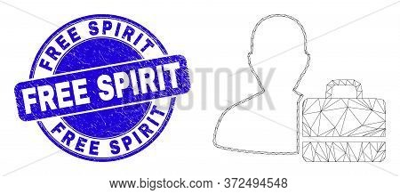 Web Carcass User Case Pictogram And Free Spirit Stamp. Blue Vector Rounded Distress Seal Stamp With