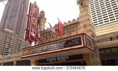 Famous Fox Theatre On Peachtree Street In Midtown Atlanta - Atlanta, Georgia - April 20, 2016