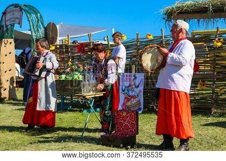 Dnipropetrovsk Region, Ukraine - June 2, 2018: Folk Musicians In Traditional Ukrainian Clothing Perf