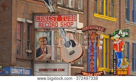 Famous Ernest Tubb Record Shop On Nashville Broadway - Nashville, Usa - June 17, 2019
