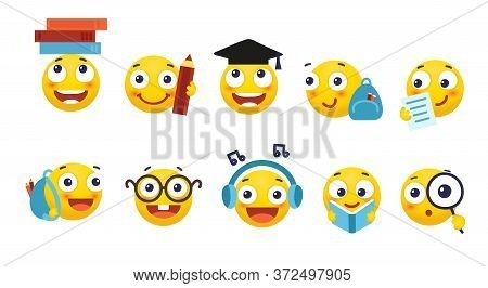 Vector Set Of Emoji For School And Education. Round Yellow Emoticons With Different Emotions, Back T
