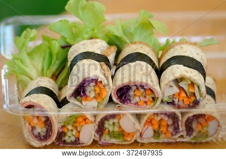 Bread Roll, Rolls Or Vegetable Rolls In Thr Box