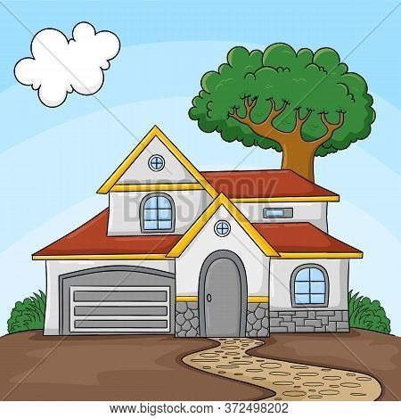 Vector Cartoon Common House Scene With Grass Yard Tree