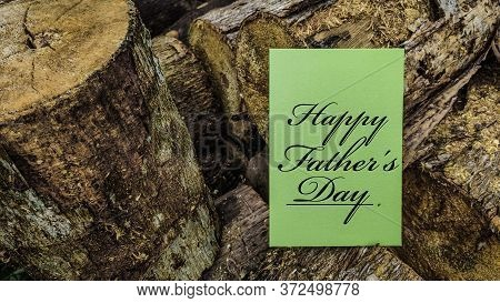 Celebration Concept - Happy Father's Day Text Written On Notepaper. Stock Photo.