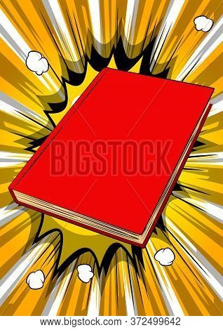 Close Up Illustration Of Closed Hardcover Textbook - Comic Book Style, Cartoon Vector Illustrated.