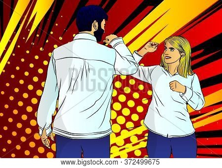 Elbow Bump. New Greeting Instead A Handshake Or Hug To Avoid The Spread Of A Virus. A Man And A Woma