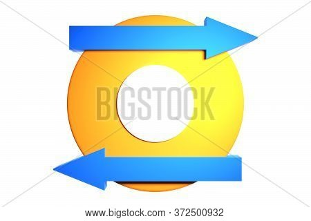 A Large Yellow Circle And A Few Blue Arrows. Arrows Showing Parallel Movement At Each Other. Concept