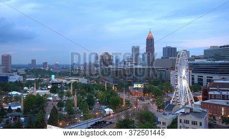 Evening View Over Olympic Park And Atlanta - Atlanta, Georgia - April 21, 2016