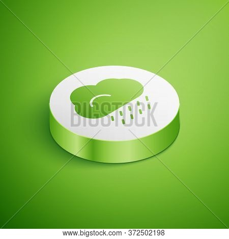 Isometric Cloud With Rain Icon Isolated On Green Background. Rain Cloud Precipitation With Rain Drop