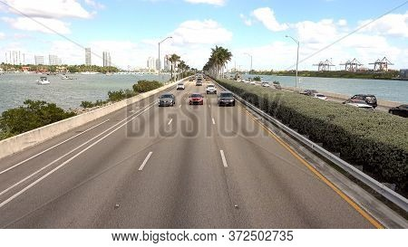 Traffic From Miami Beach To Miami - Miami, Florida April 10, 2016
