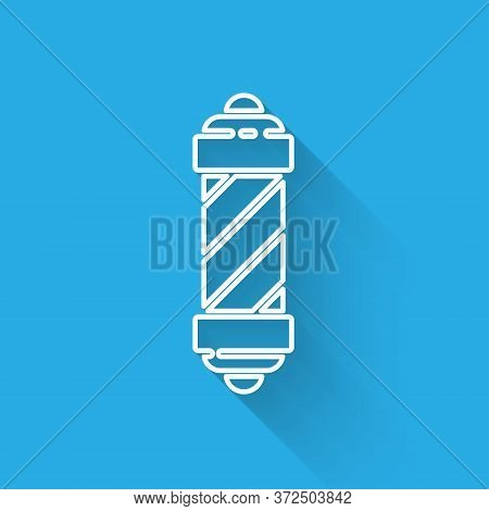 White Line Classic Barber Shop Pole Icon Isolated With Long Shadow. Barbershop Pole Symbol. Vector I