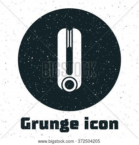 Grunge Curling Iron For Hair Icon Isolated On White Background. Hair Straightener Icon. Monochrome V