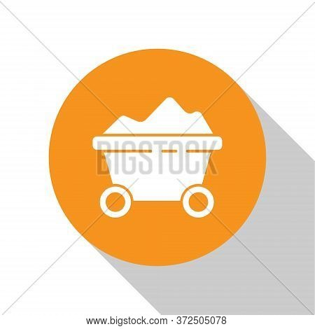 White Coal Mine Trolley Icon Isolated On White Background. Factory Coal Mine Trolley. Orange Circle