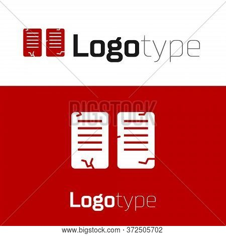Red The Commandments Icon Isolated On White Background. Gods Law Concept. Logo Design Template Eleme