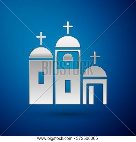 Silver Church Building Icon Isolated On Blue Background. Christian Church. Religion Of Church. Vecto