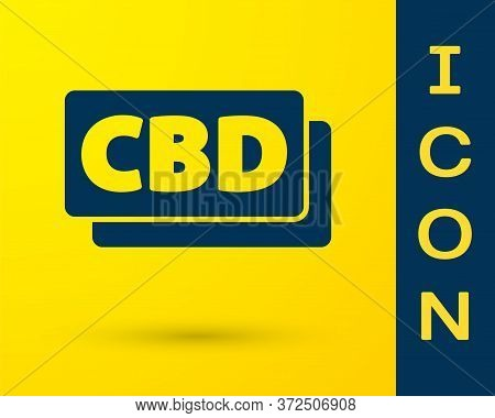 Blue Cannabis Molecule Icon Isolated On Yellow Background. Cannabidiol Molecular Structures, Thc And