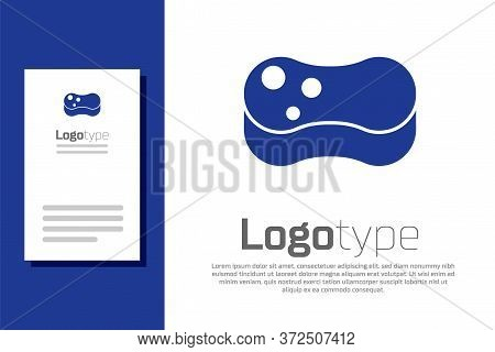 Blue Sponge Icon Isolated On White Background. Wisp Of Bast For Washing Dishes. Cleaning Service Con