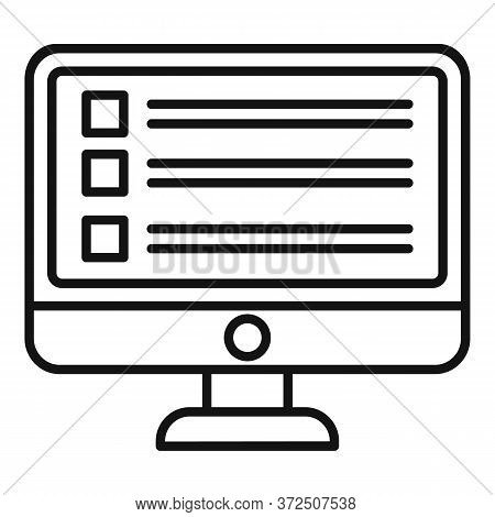 Business Online Survey Icon. Outline Business Online Survey Vector Icon For Web Design Isolated On W