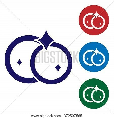 Blue Washing Dishes Icon Isolated On White Background. Cleaning Dishes Icon. Dishwasher Sign. Clean