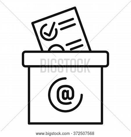 Survey Carton Box Icon. Outline Survey Carton Box Vector Icon For Web Design Isolated On White Backg
