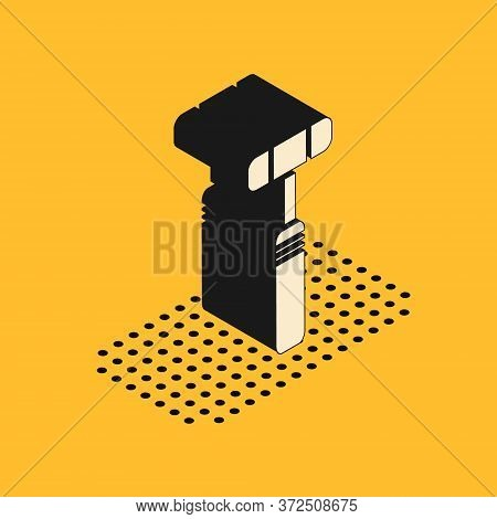 Isometric Neurology Reflex Hammer Icon Isolated On Yellow Background. Vector Illustration