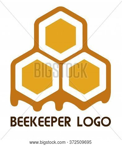 Logo Of A Beekeeper, Apiary, Honey Or Bee Products Company. Bee Honeycombs With Flowing Trickles Of