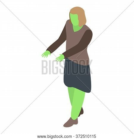 Woman Zombie Icon. Isometric Of Woman Zombie Vector Icon For Web Design Isolated On White Background