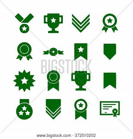 Award Line Icons. Set Of Victory Cup, Winner Medal And Laurel Wreath Award Icons. Reward, Certificat