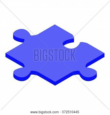 Blue Jigsaw Piece Icon. Isometric Of Blue Jigsaw Piece Vector Icon For Web Design Isolated On White