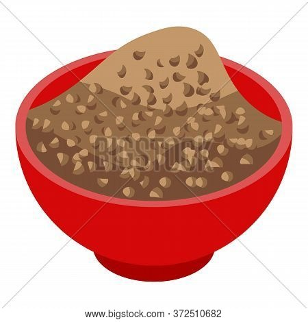 Buckwheat Bowl Icon. Isometric Of Buckwheat Bowl Vector Icon For Web Design Isolated On White Backgr