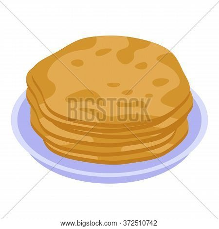 Pancakes Plate Icon. Isometric Of Pancakes Plate Vector Icon For Web Design Isolated On White Backgr