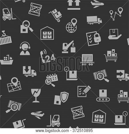 Cargo Delivery, Seamless Pattern, Dark Gray, Color, Vector. Cargo Transportation And Delivery Of Goo