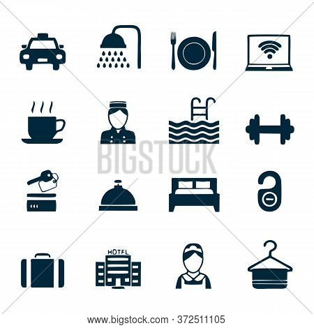 Hotel Line Icon Set, Travel Symbols Set Collection Or Vector Sketches. Hotels Services Signs Set For