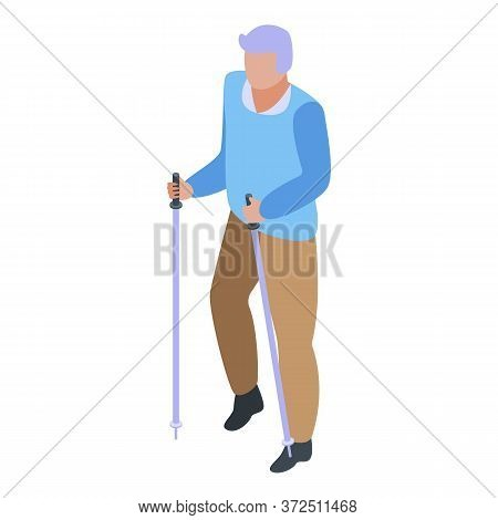 Walking Sticks Grandfather Icon. Isometric Of Walking Sticks Grandfather Vector Icon For Web Design