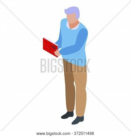 Grandfather Read Book Icon. Isometric Of Grandfather Read Book Vector Icon For Web Design Isolated O