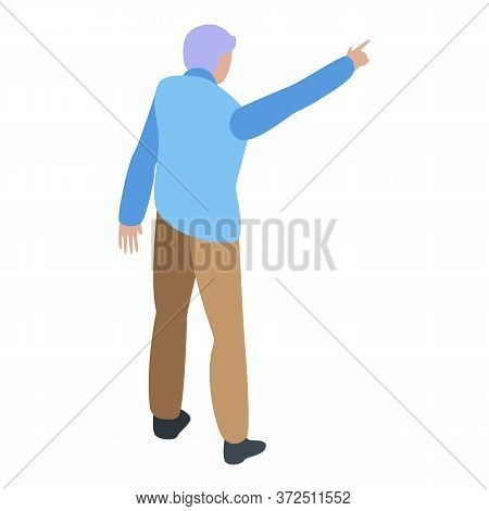 Grandfather Show Right Way Icon. Isometric Of Grandfather Show Right Way Vector Icon For Web Design